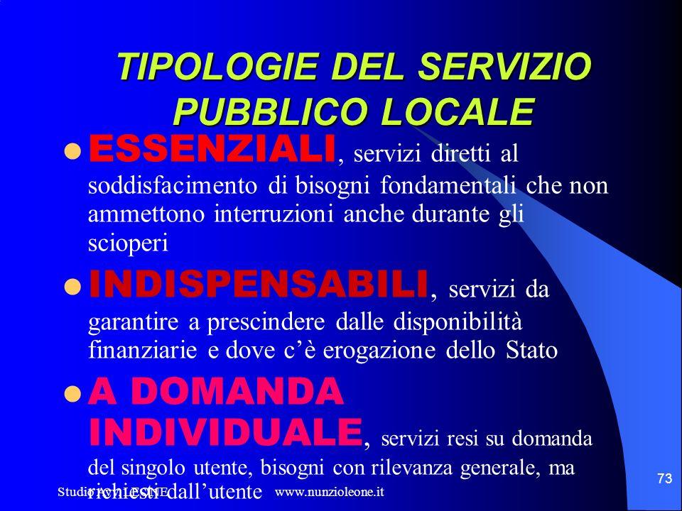 Studio Avv. LEONE www.nunzioleone.it 73 TIPOLOGIE DEL SERVIZIO PUBBLICO LOCALE ESSENZIALI, servizi diretti al soddisfacimento di bisogni fondamentali