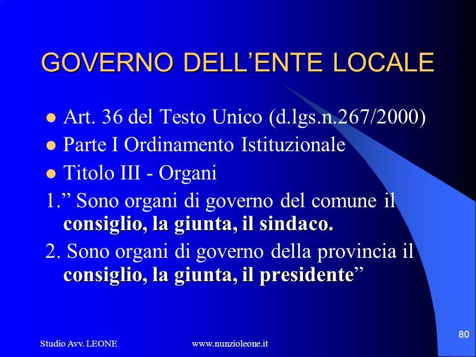 Studio Avv. LEONE www.nunzioleone.it 80 GOVERNO DELLENTE LOCALE Art. 36 del Testo Unico (d.lgs.n.267/2000) Parte I Ordinamento Istituzionale Titolo II