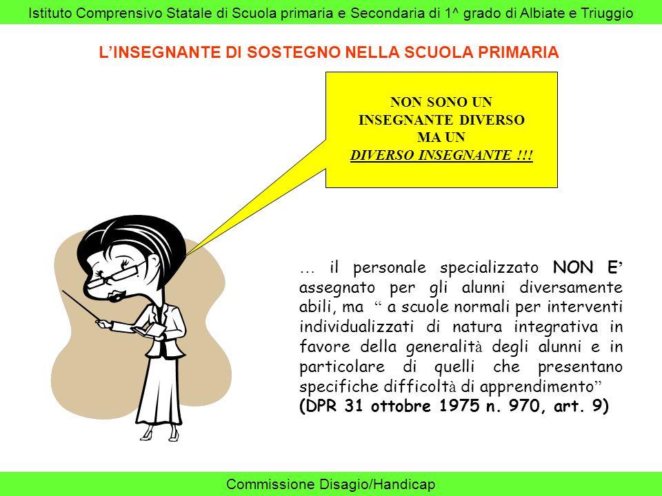 Istituto Comprensivo Statale di Scuola primaria e Secondaria di 1^ grado di Albiate e Triuggio Commissione Disagio/Handicap LINSEGNANTE DI SOSTEGNO NE