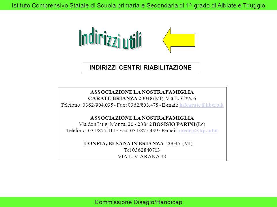 Istituto Comprensivo Statale di Scuola primaria e Secondaria di 1^ grado di Albiate e Triuggio Commissione Disagio/Handicap INDIRIZZI CENTRI RIABILITA