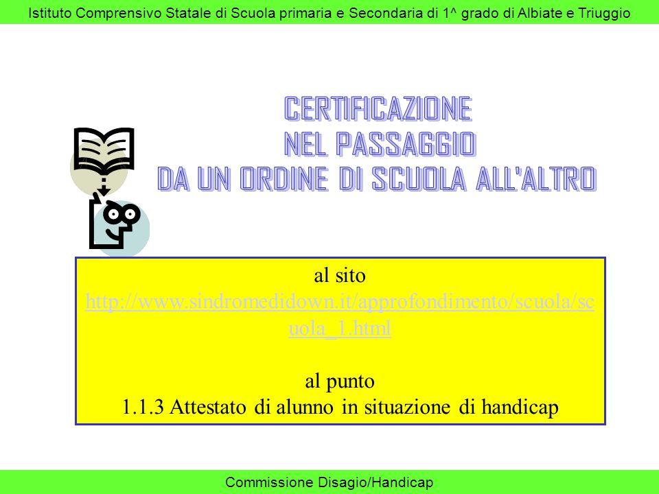Istituto Comprensivo Statale di Scuola primaria e Secondaria di 1^ grado di Albiate e Triuggio Commissione Disagio/Handicap al sito http://www.sindrom