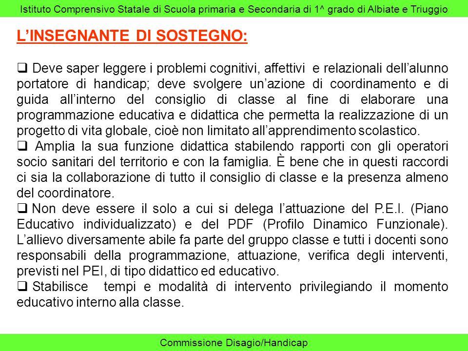Istituto Comprensivo Statale di Scuola primaria e Secondaria di 1^ grado di Albiate e Triuggio Commissione Disagio/Handicap LINSEGNANTE DI SOSTEGNO: D