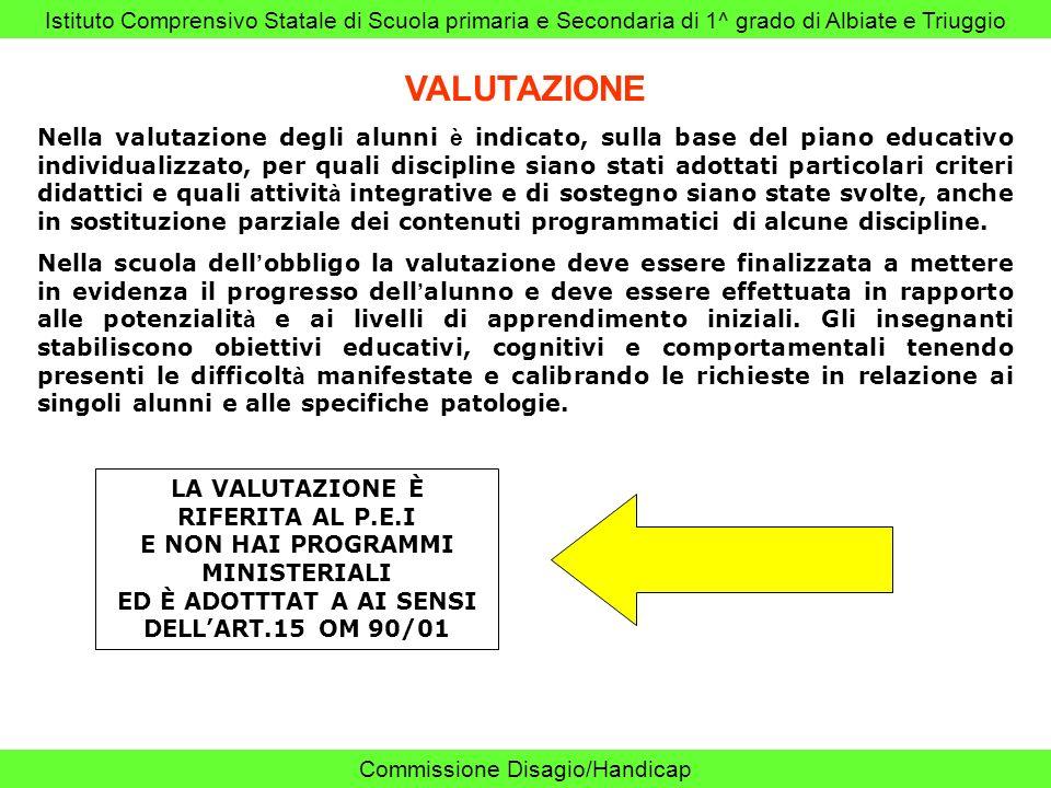Istituto Comprensivo Statale di Scuola primaria e Secondaria di 1^ grado di Albiate e Triuggio Commissione Disagio/Handicap VALUTAZIONE Nella valutazi