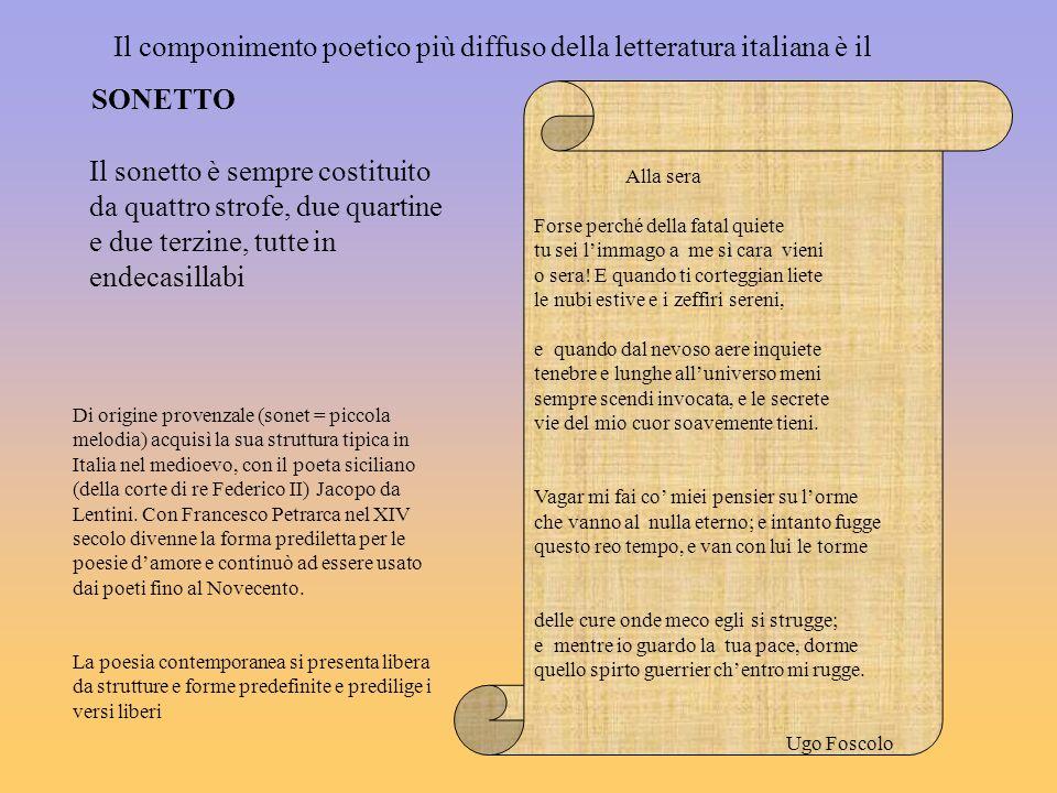 Il componimento poetico più diffuso della letteratura italiana è il SONETTO Di origine provenzale (sonet = piccola melodia) acquisì la sua struttura t
