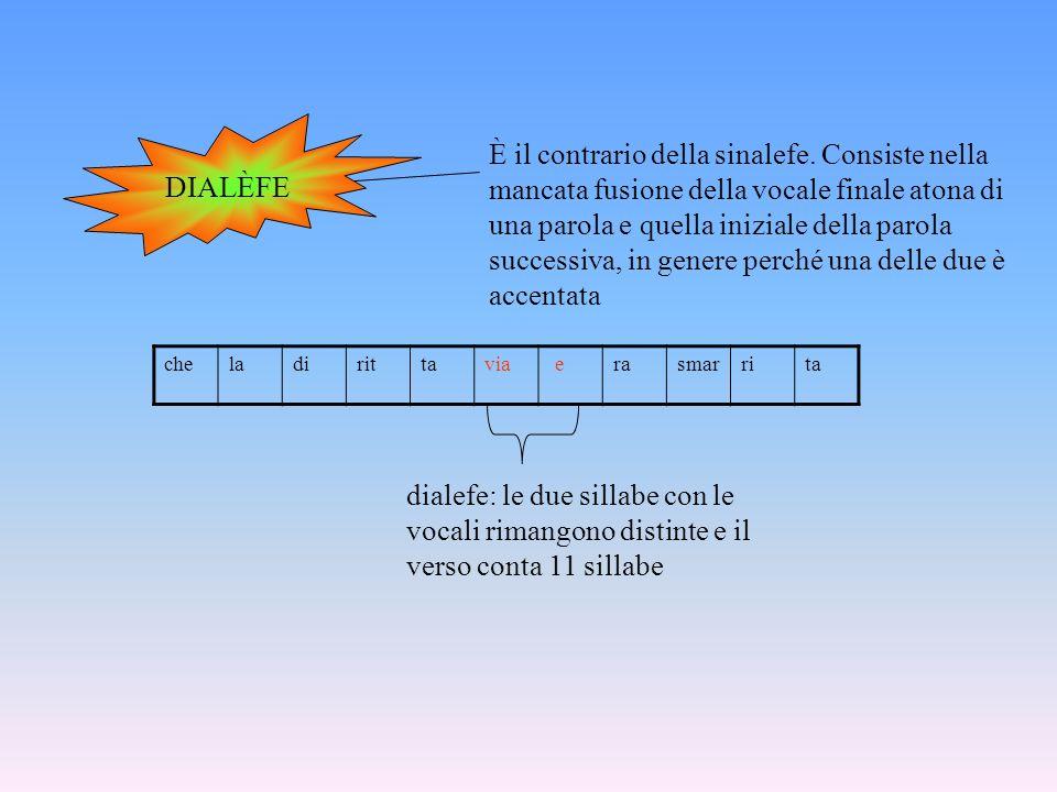 DIALÈFE È il contrario della sinalefe. Consiste nella mancata fusione della vocale finale atona di una parola e quella iniziale della parola successiv