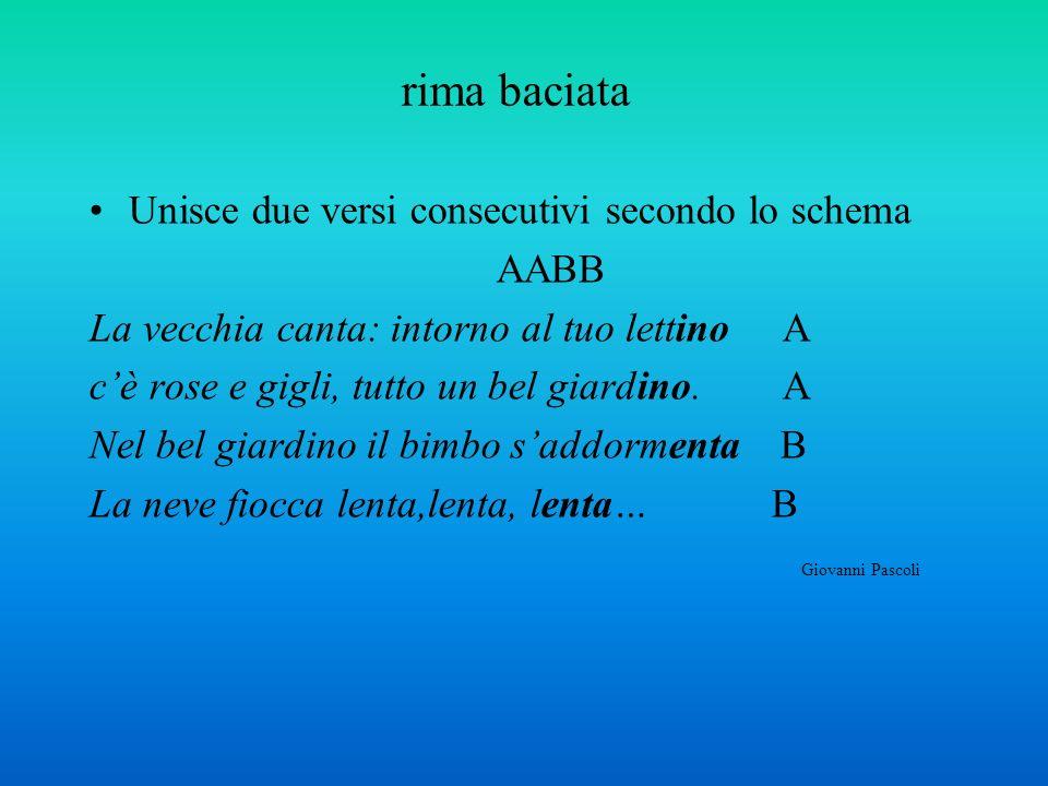 rima baciata Unisce due versi consecutivi secondo lo schema AABB La vecchia canta: intorno al tuo lettino A cè rose e gigli, tutto un bel giardino. A