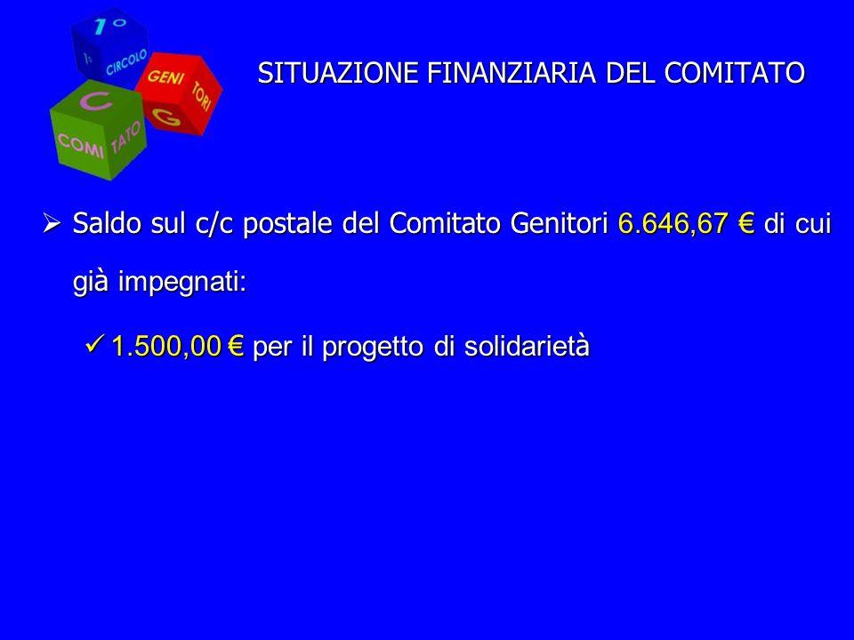 SITUAZIONE FINANZIARIA DEL COMITATO Saldo sul c/c postale del Comitato Genitori 6.646,67 di cui gi à impegnati: Saldo sul c/c postale del Comitato Genitori 6.646,67 di cui gi à impegnati: 1.500,00 per il progetto di solidariet à 1.500,00 per il progetto di solidariet à