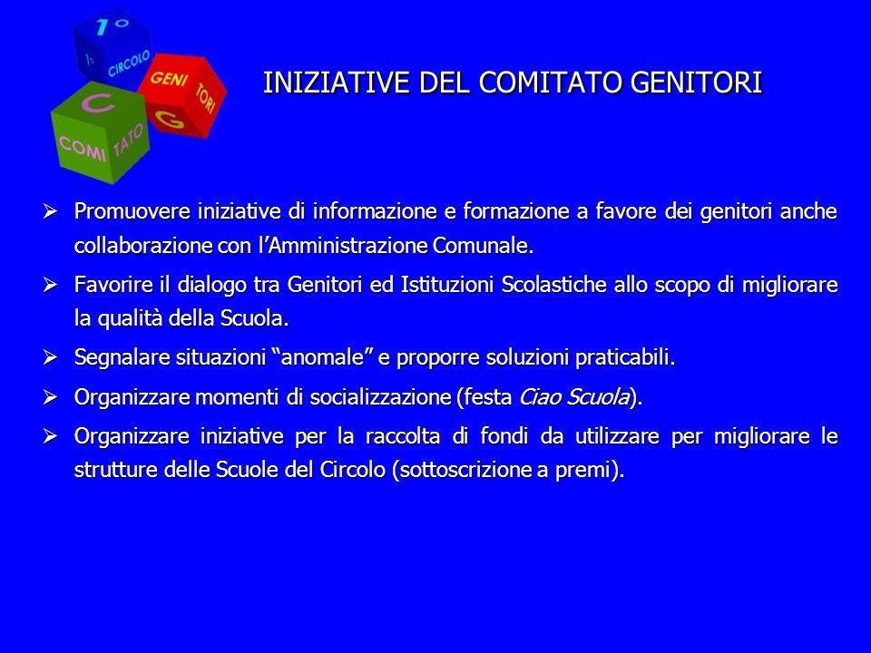 INIZIATIVE DEL COMITATO GENITORI Promuovere iniziative di informazione e formazione a favore dei genitori anche collaborazione con lAmministrazione Comunale.