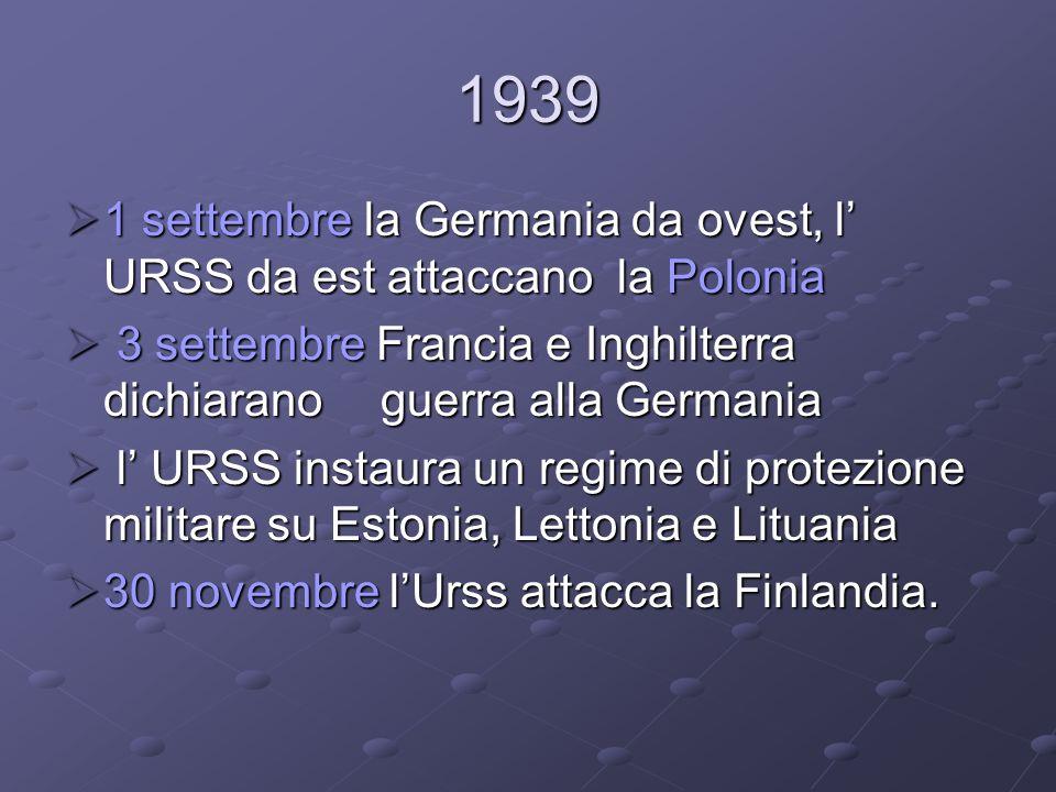Scoppio del conflitto Le operazioni ebbero inizio nel 1939 con linvasione della Polonia da parte della Germania nazista.
