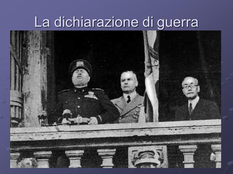 La posizione dellItalia LItalia dichiara la propria NON BELLIGERANZA Mussolini era consapevole che lItalia non possedeva risorse militari ed economiche adeguate Di fronte ai successi di Hitler però voleva alcune migliaia di morti da far pesare sul tavolo delle trattative 10 giugno 1940 inizia LA GUERRA PARALLELA