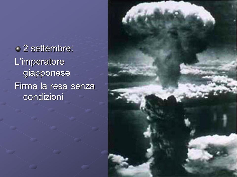 1945 CONFERENZA DI POTSDAM, luglio-agosto, Truman Stalin Churchill, preliminari di pace e decisione di sferrare lultimo attacco al Giappone (il telegramma bimbi nati beneavvertiva Truman del test nucleare positivo del Nuovo Messico).