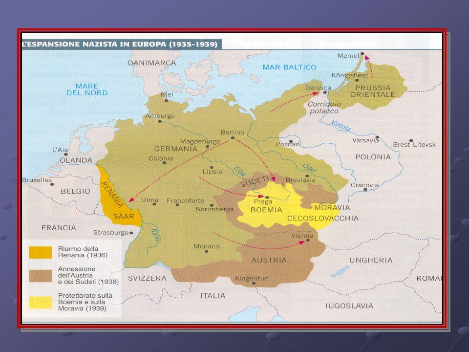 Cause La politica aggressiva della Germania inizia con: La politica aggressiva della Germania inizia con: la militarizzazione della Renania(1934) la militarizzazione della Renania(1934) lannessione-anschluss dellAustria (1938) lannessione-anschluss dellAustria (1938) lannessione dei Sudeti (1938) (consentita dalla Conferenza di Monaco 1938) lannessione dei Sudeti (1938) (consentita dalla Conferenza di Monaco 1938) loccupazione di Boemia e Moravia loccupazione di Boemia e Moravia Latto di forza di Mussolini che occupa Etiopia(1934) e Albania (1939) Latto di forza di Mussolini che occupa Etiopia(1934) e Albania (1939)