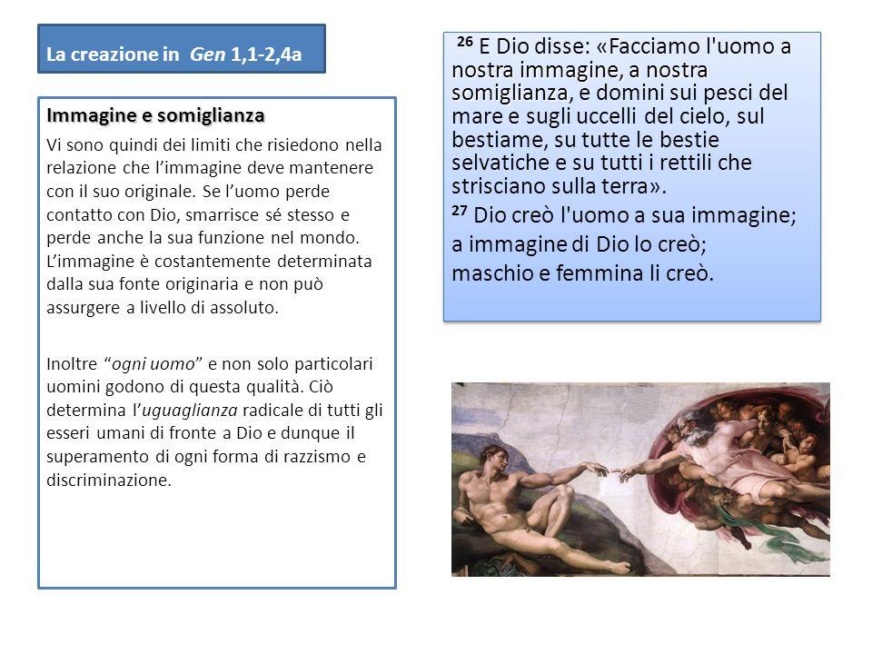 La creazione in Gen 1,1-2,4a a nostra immagine, a nostra somiglianza 26 E Dio disse: «Facciamo l'uomo a nostra immagine, a nostra somiglianza, e domin