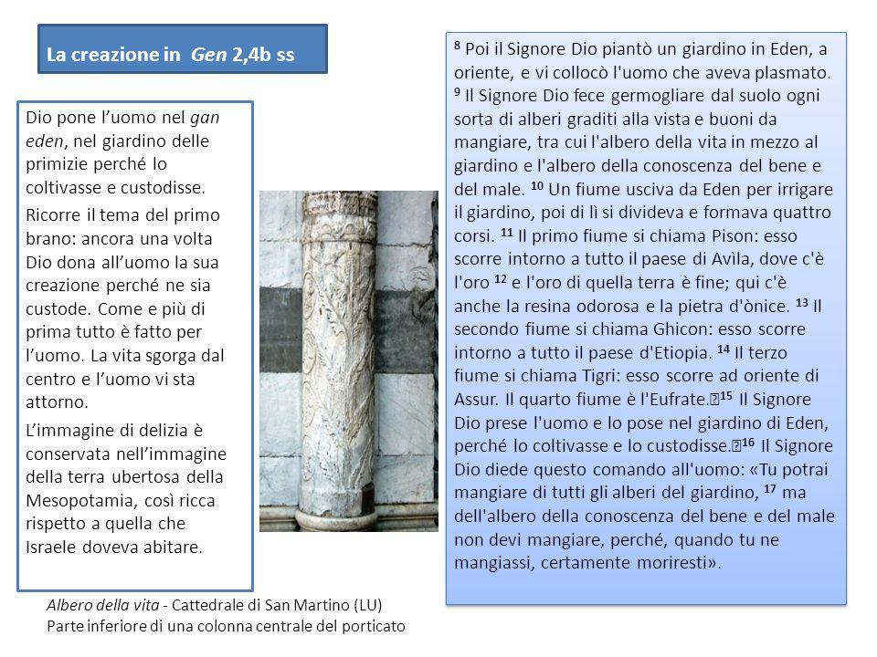 La creazione in Gen 2,4b ss 8 Poi il Signore Dio piantò un giardino in Eden, a oriente, e vi collocò l uomo che aveva plasmato.