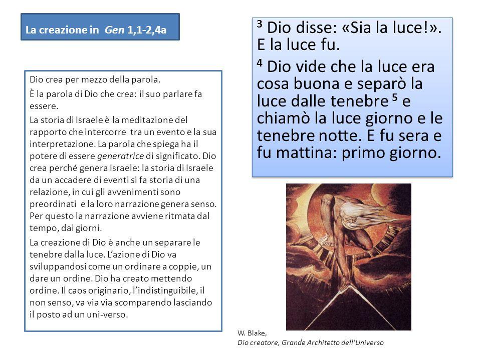 La creazione in Gen 1,1-2,4a 3 Dio disse: «Sia la luce!».