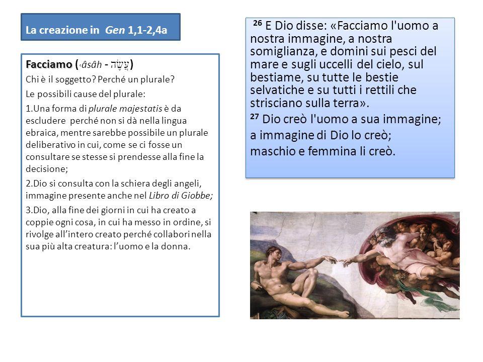 La creazione in Gen 1,1-2,4a Facciamo 26 E Dio disse: «Facciamo l'uomo a nostra immagine, a nostra somiglianza, e domini sui pesci del mare e sugli uc
