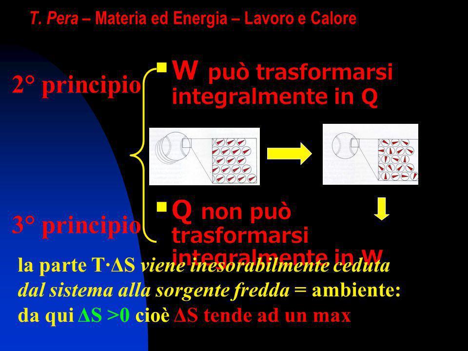 T. Pera – Materia ed Energia – Lavoro e Calore W può trasformarsi integralmente in Q Q non può trasformarsi integralmente in W 2° principio 3° princip
