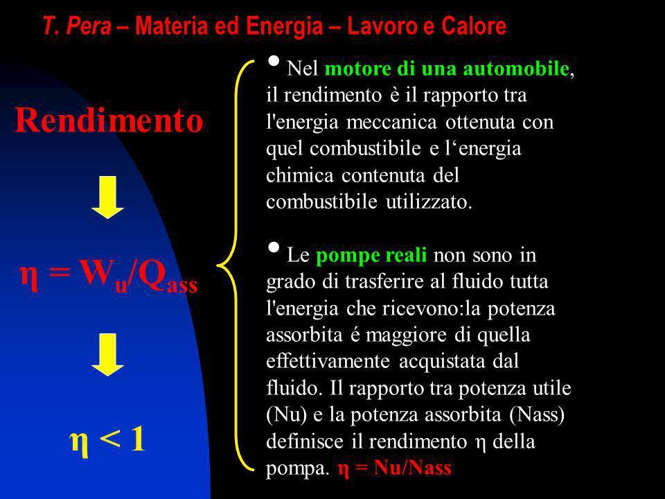 T. Pera – Materia ed Energia – Lavoro e Calore Rendimento η = W u /Q ass η < 1 Nel motore di una automobile, il rendimento è il rapporto tra l'energia