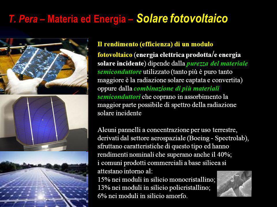 T. Pera – Materia ed Energia – Solare fotovoltaico Il rendimento (efficienza) di un modulo fotovoltaico (energia elettrica prodotta / e energia solare