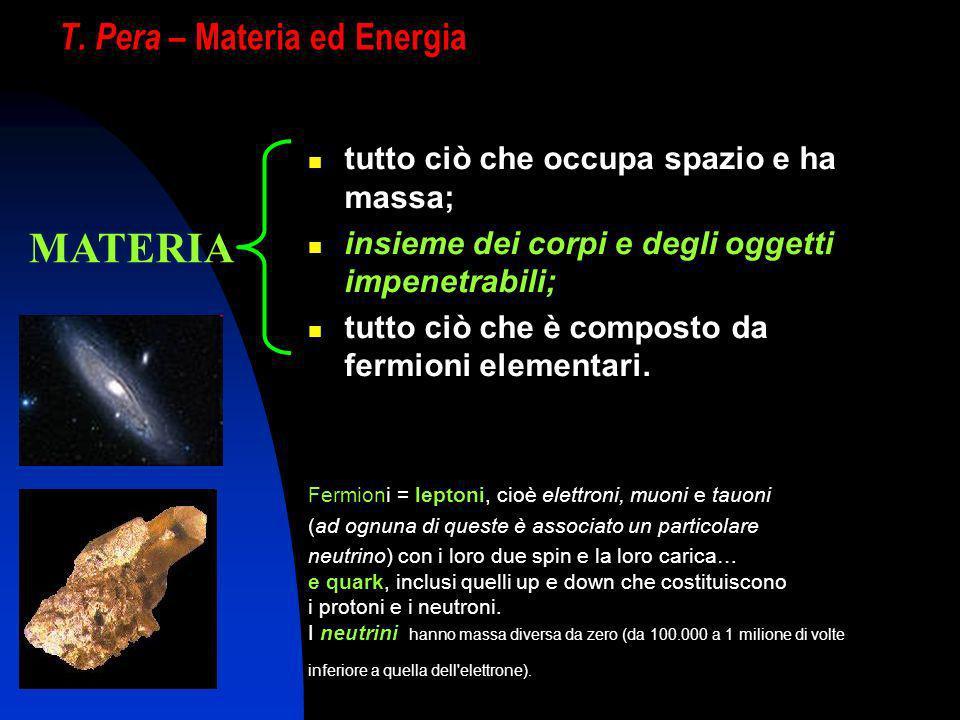 T. Pera – Materia ed Energia tutto ciò che occupa spazio e ha massa; insieme dei corpi e degli oggetti impenetrabili; tutto ciò che è composto da ferm