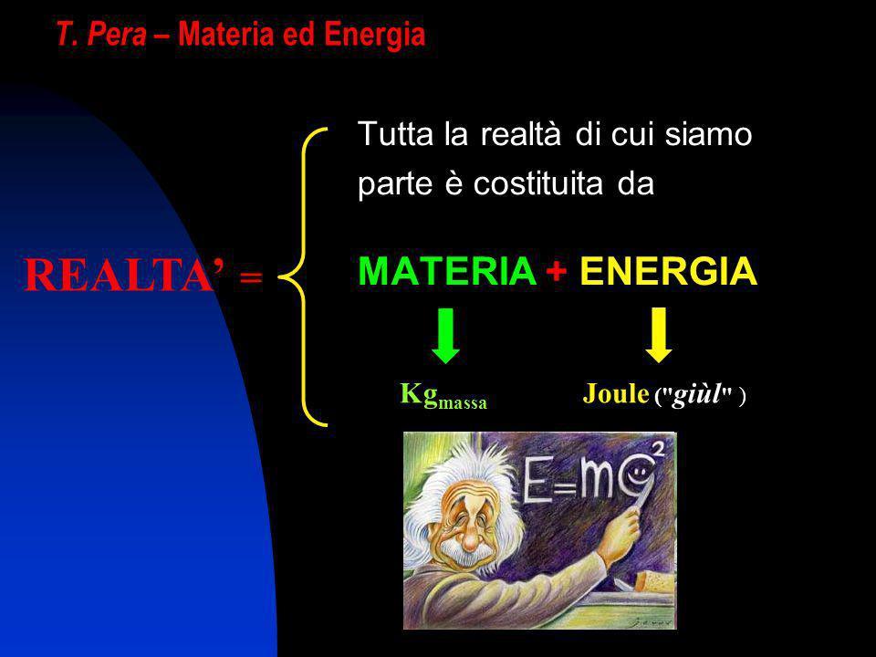 T. Pera – Materia ed Energia Tutta la realtà di cui siamo parte è costituita da MATERIA + ENERGIA REALTA = Kg massa Joule (