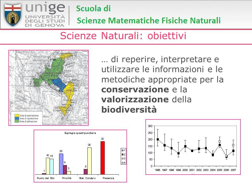 Scienze Naturali: obiettivi … di reperire, interpretare e utilizzare le informazioni e le metodiche appropriate per la conservazione e la valorizzazio