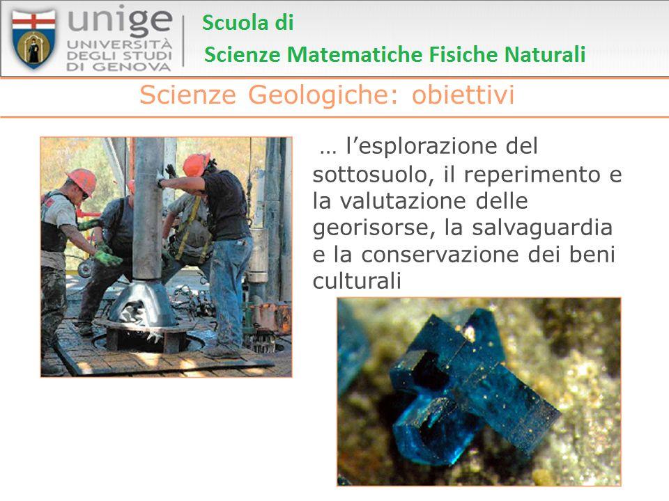 Scienze Geologiche: obiettivi … lesplorazione del sottosuolo, il reperimento e la valutazione delle georisorse, la salvaguardia e la conservazione dei
