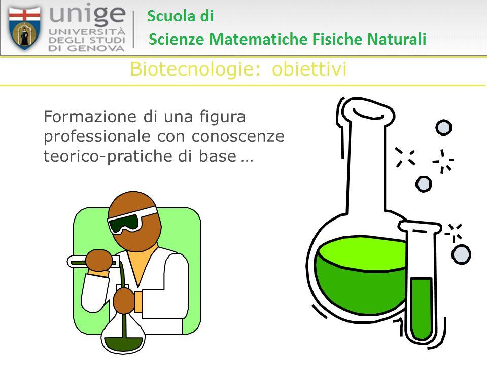 Biotecnologie: obiettivi Formazione di una figura professionale con conoscenze teorico-pratiche di base...
