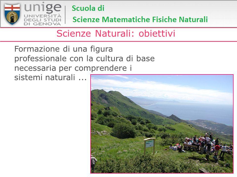 Scienze Naturali: obiettivi Formazione di una figura professionale con la cultura di base necessaria per comprendere i sistemi naturali...