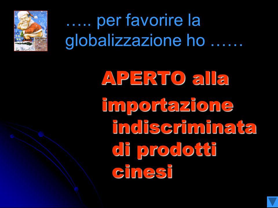 APERTO alla importazione indiscriminata di prodotti cinesi …..