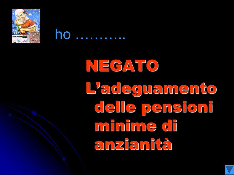 NEGATO Ladeguamento delle pensioni minime di anzianità ho ………..