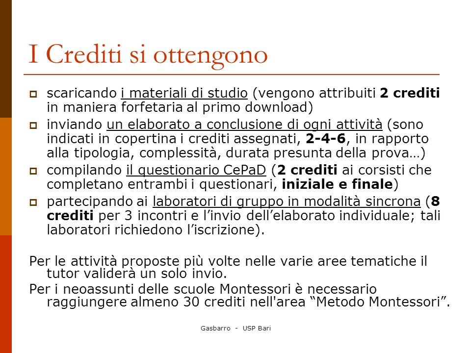Gasbarro - USP Bari I Crediti si ottengono scaricando i materiali di studio (vengono attribuiti 2 crediti in maniera forfetaria al primo download) inv