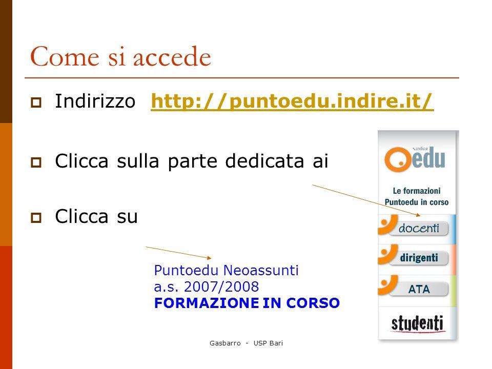 Gasbarro - USP Bari Come si accede Indirizzo http://puntoedu.indire.it/http://puntoedu.indire.it/ Clicca sulla parte dedicata ai Clicca su Puntoedu Neoassunti a.s.