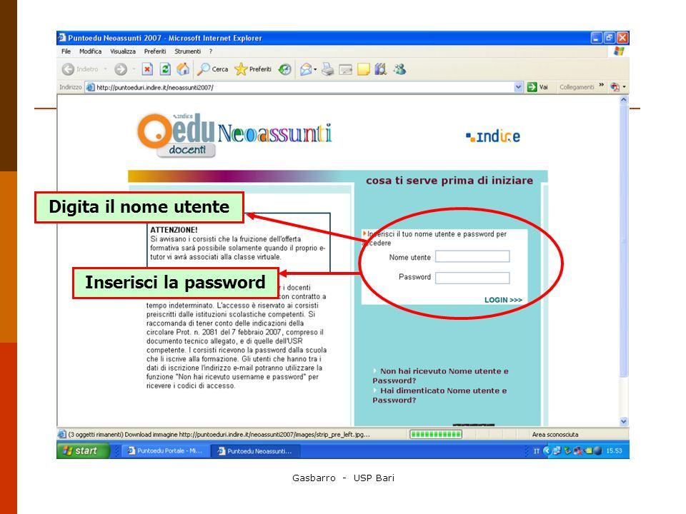Gasbarro - USP Bari Digita il nome utente Inserisci la password