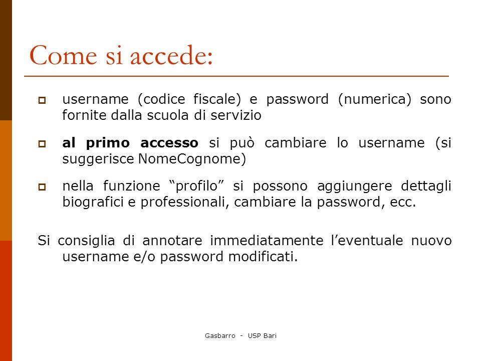 Gasbarro - USP Bari Come si accede: username (codice fiscale) e password (numerica) sono fornite dalla scuola di servizio al primo accesso si può camb