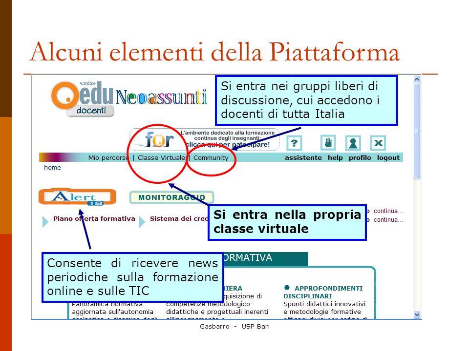 Alcuni elementi della Piattaforma Si entra nella propria classe virtuale Si entra nei gruppi liberi di discussione, cui accedono i docenti di tutta Italia Consente di ricevere news periodiche sulla formazione online e sulle TIC