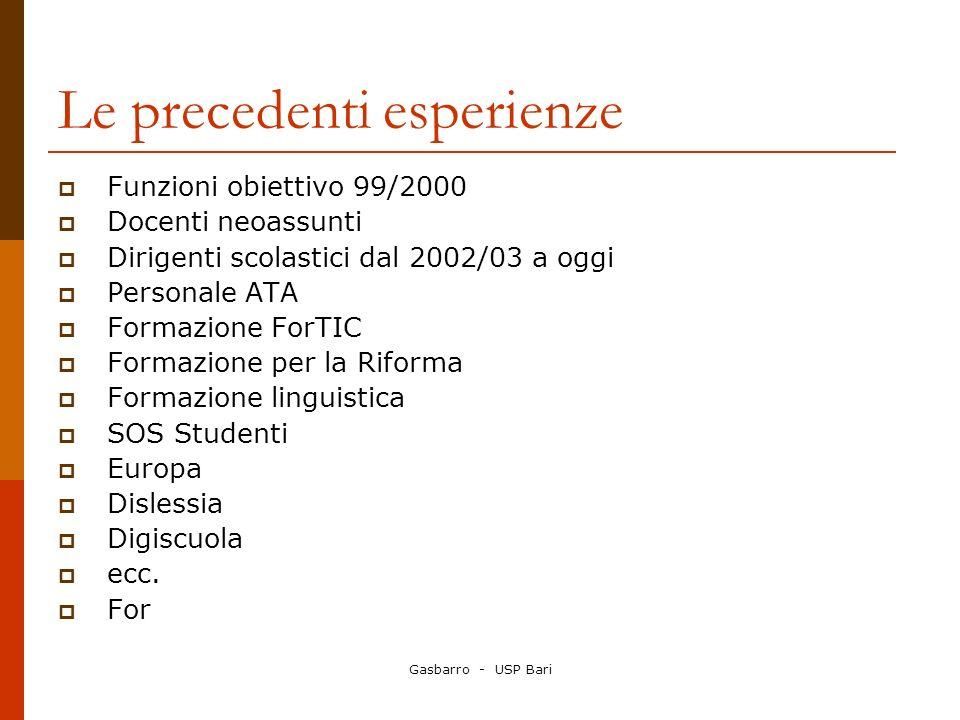 Gasbarro - USP Bari Le precedenti esperienze Funzioni obiettivo 99/2000 Docenti neoassunti Dirigenti scolastici dal 2002/03 a oggi Personale ATA Forma