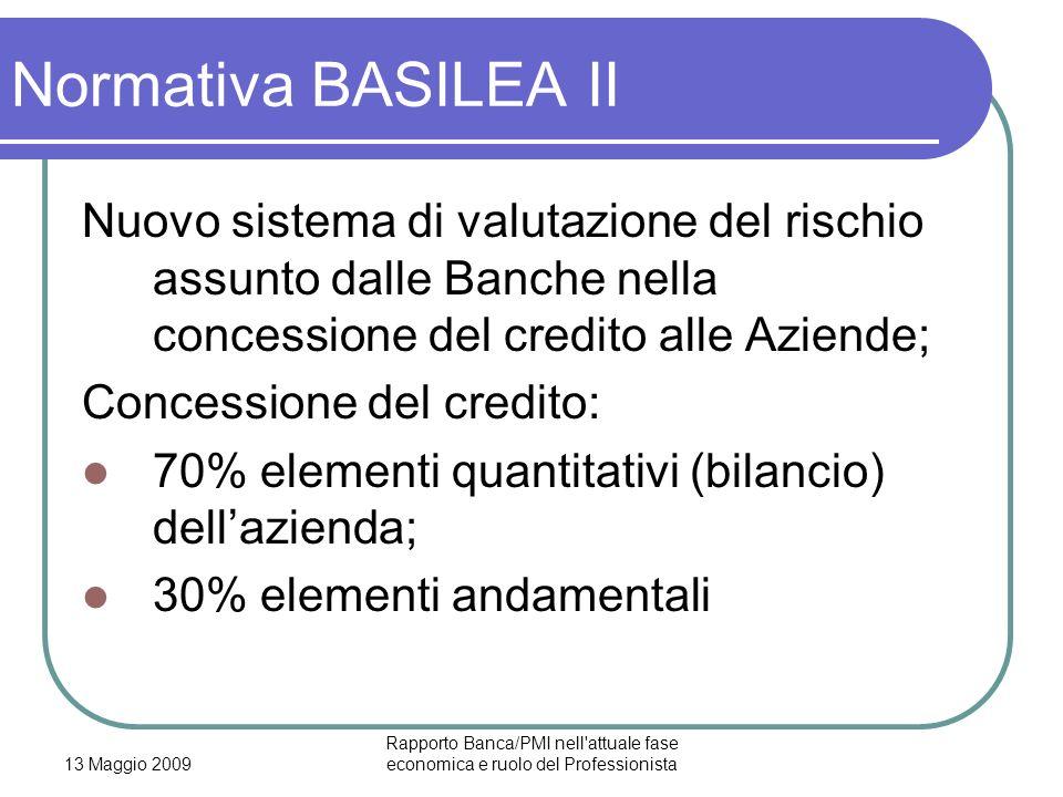 13 Maggio 2009 Rapporto Banca/PMI nell'attuale fase economica e ruolo del Professionista Normativa BASILEA II Nuovo sistema di valutazione del rischio
