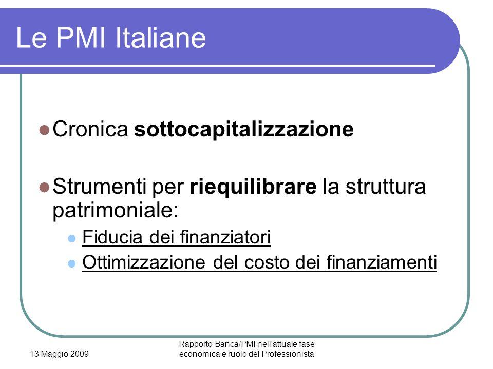 13 Maggio 2009 Rapporto Banca/PMI nell'attuale fase economica e ruolo del Professionista Le PMI Italiane Cronica sottocapitalizzazione Strumenti per r