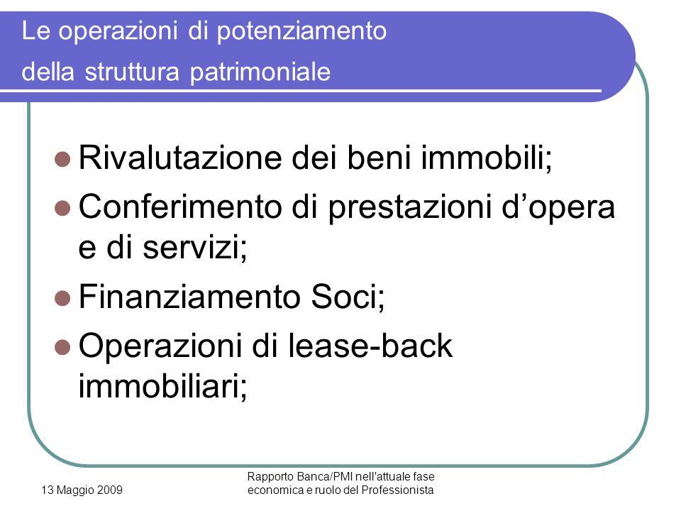 13 Maggio 2009 Rapporto Banca/PMI nell'attuale fase economica e ruolo del Professionista Le operazioni di potenziamento della struttura patrimoniale R