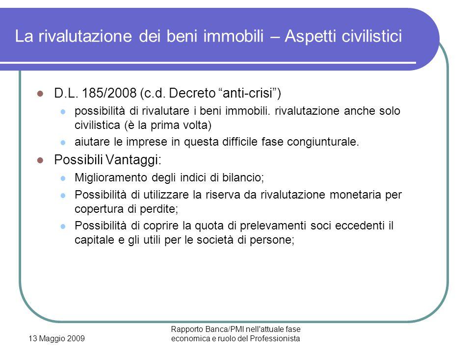 13 Maggio 2009 Rapporto Banca/PMI nell'attuale fase economica e ruolo del Professionista La rivalutazione dei beni immobili – Aspetti civilistici D.L.