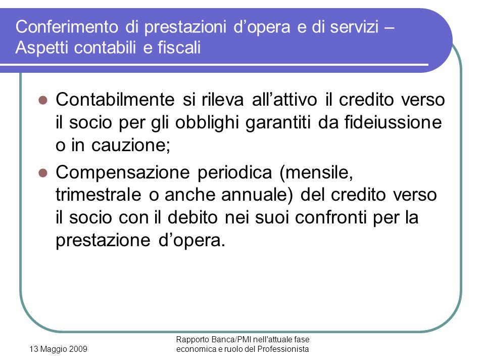 13 Maggio 2009 Rapporto Banca/PMI nell'attuale fase economica e ruolo del Professionista Conferimento di prestazioni dopera e di servizi – Aspetti con