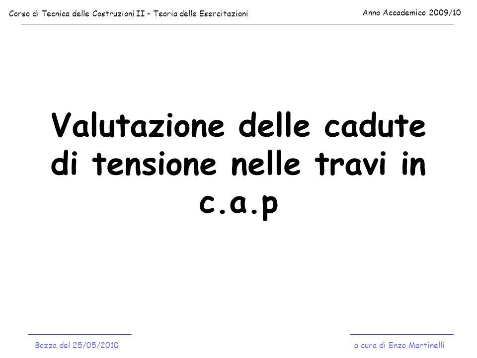 TRAVE POST-TESA: CADUTE PER ATTRITO - esempio numerico - Corso di Tecnica delle Costruzioni II - Teoria delle Esercitazioni Anno Accademico 2009/10 a cura di Enzo MartinelliBozza del 25/05/2010 123 45