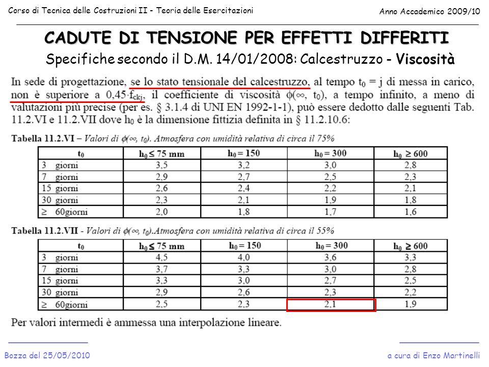 CADUTE DI TENSIONE PER EFFETTI DIFFERITI Corso di Tecnica delle Costruzioni II - Teoria delle Esercitazioni Anno Accademico 2009/10 Bozza del 25/05/20