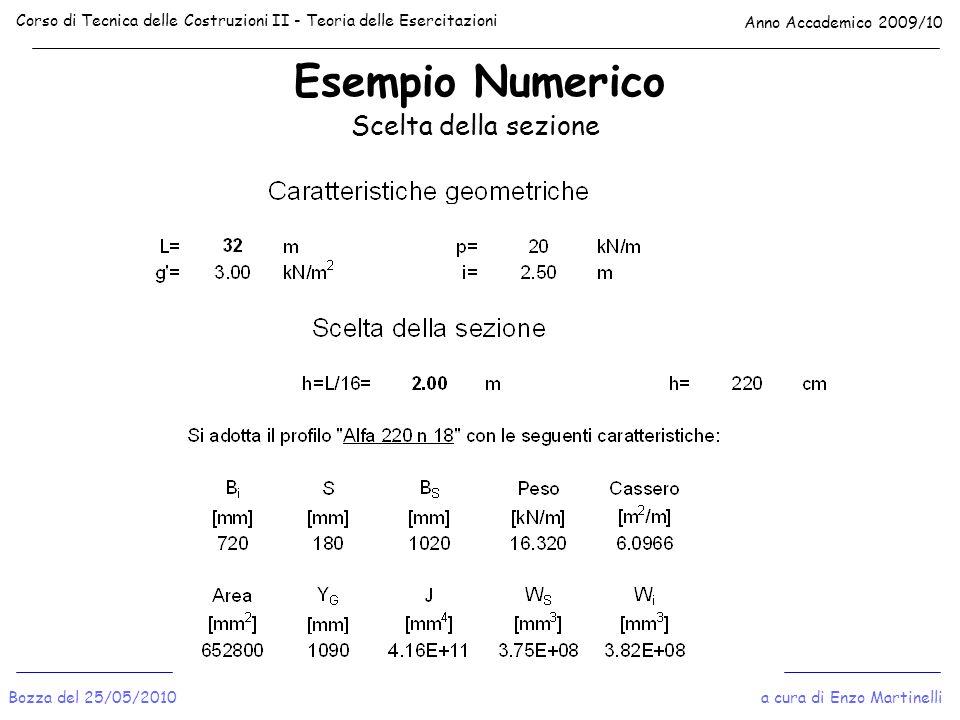 Esempio Numerico Corso di Tecnica delle Costruzioni II - Teoria delle Esercitazioni Anno Accademico 2009/10 a cura di Enzo MartinelliBozza del 25/05/2