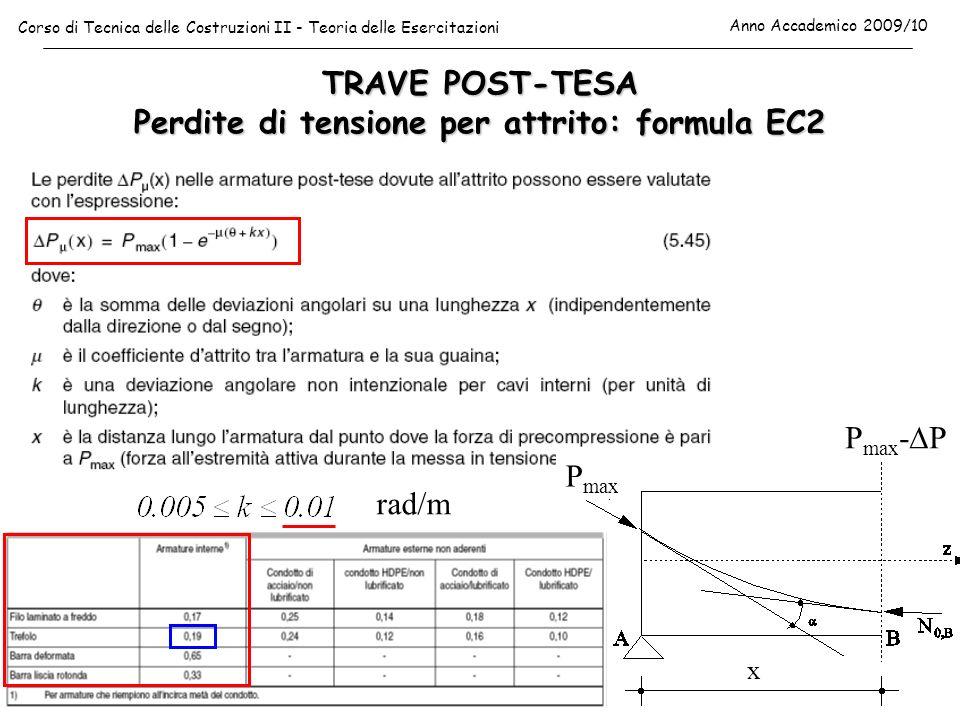 TRAVE POST-TESA Perdite di tensione per attrito: formula EC2 Corso di Tecnica delle Costruzioni II - Teoria delle Esercitazioni Anno Accademico 2009/1