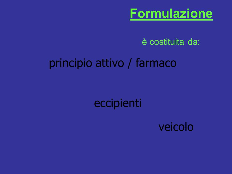 principio attivo / farmaco eccipienti veicolo Formulazione è costituita da: