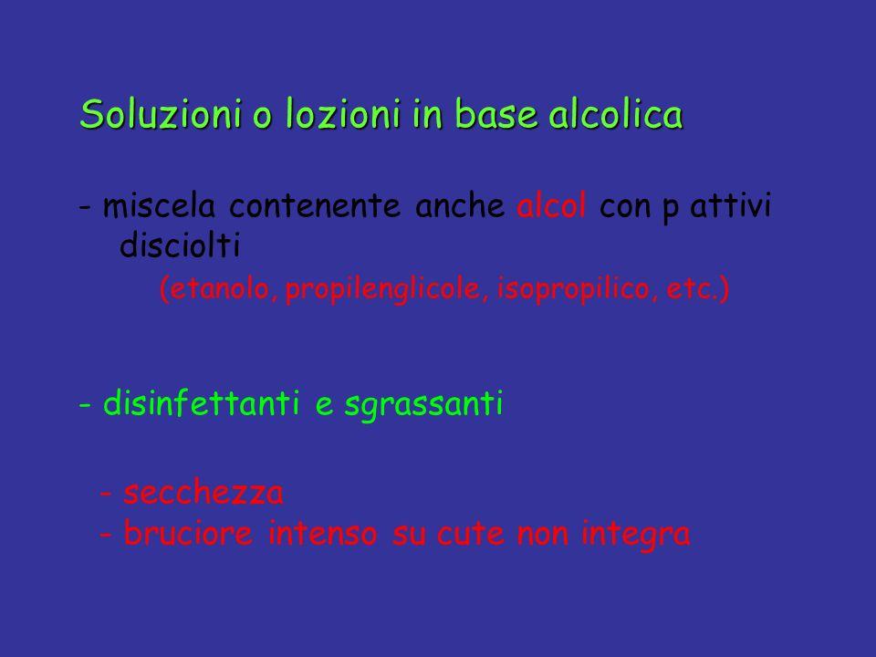 Soluzioni o lozioni in base alcolica - miscela contenente anche alcol con p attivi disciolti (etanolo, propilenglicole, isopropilico, etc.) - disinfet
