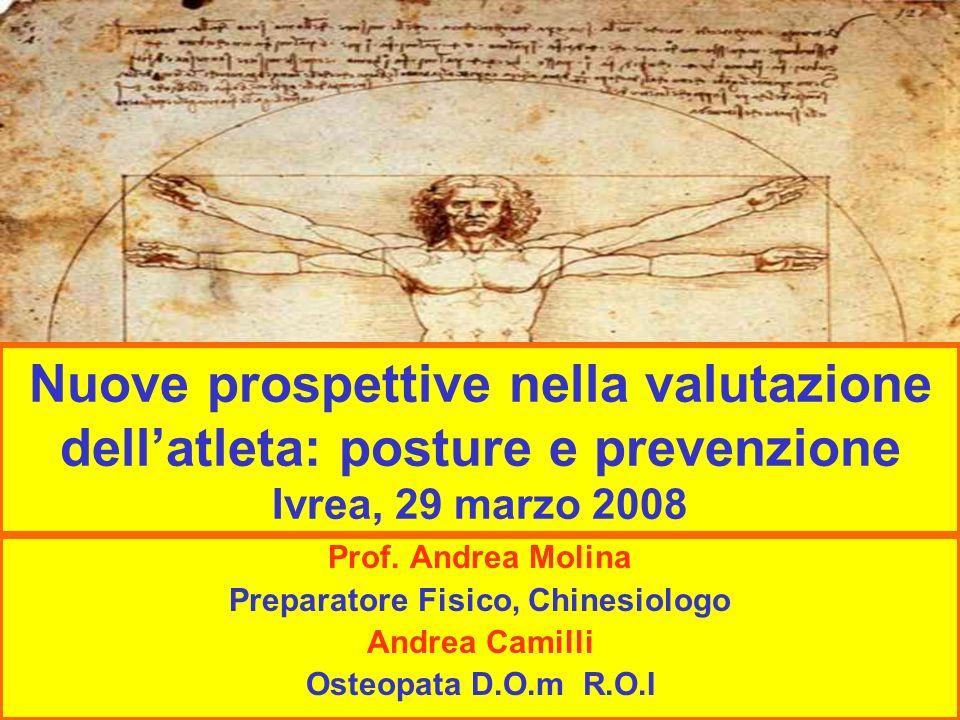 Nuove prospettive nella valutazione dellatleta: posture e prevenzione Ivrea, 29 marzo 2008 Prof. Andrea Molina Preparatore Fisico, Chinesiologo Andrea