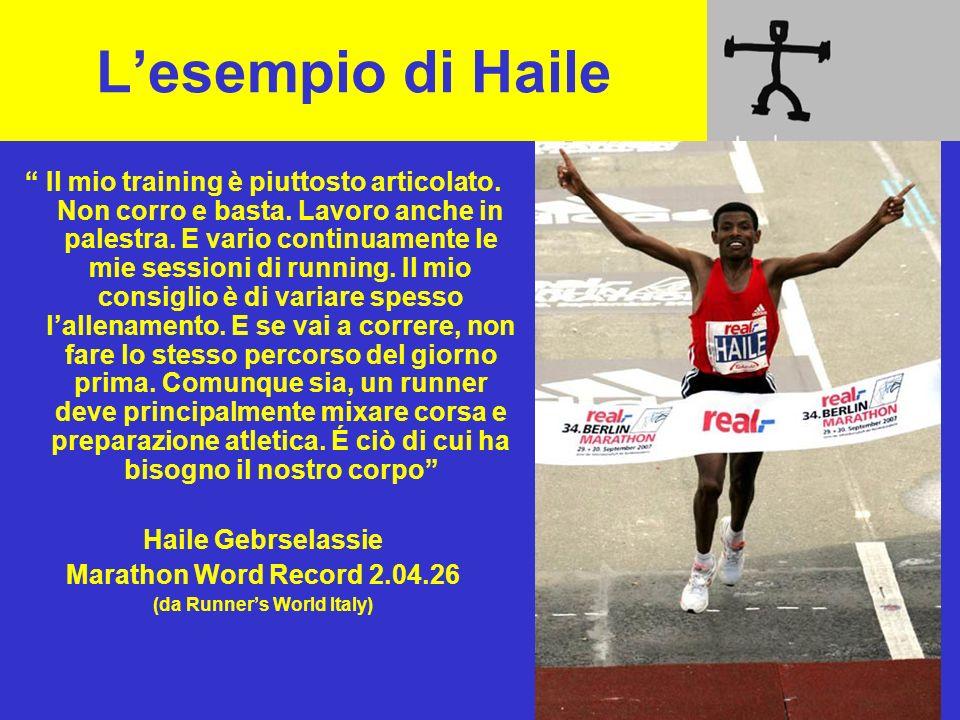 Lesempio di Haile Il mio training è piuttosto articolato. Non corro e basta. Lavoro anche in palestra. E vario continuamente le mie sessioni di runnin